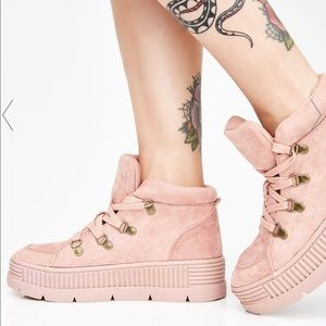 Dolls Kill pink suede platform sneakers